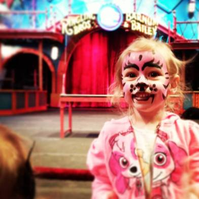 Lil A as a pink tiger at Ringling Bros. Barnum & Baile circus